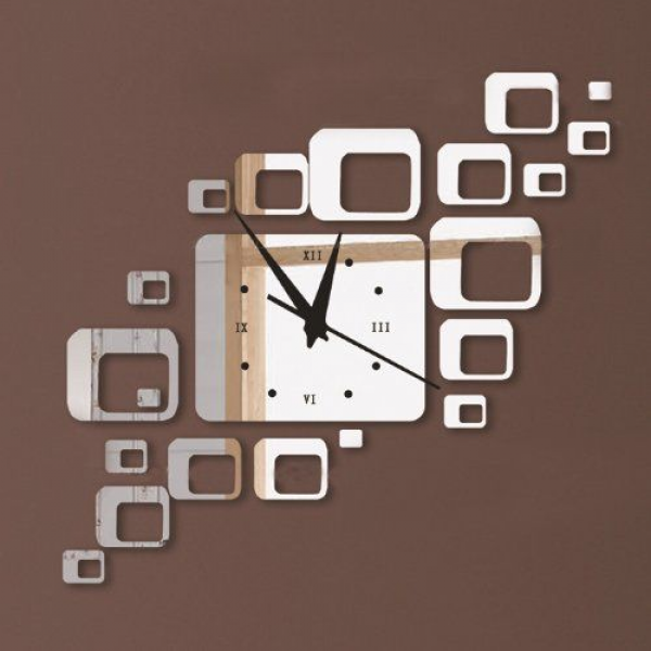 Toprate(TM) Modern Stylish Creative Rectangles Squares Wall Clock ...