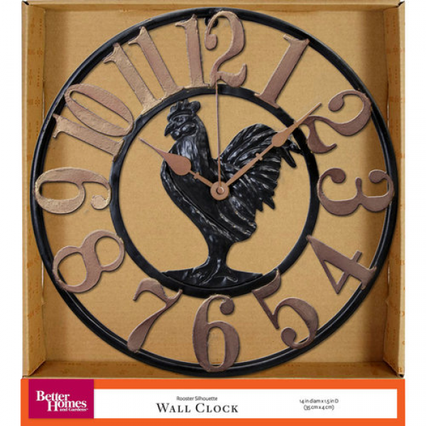 Better Homes and Gardens Rooster Silhouette Wall Clock: Decor ...