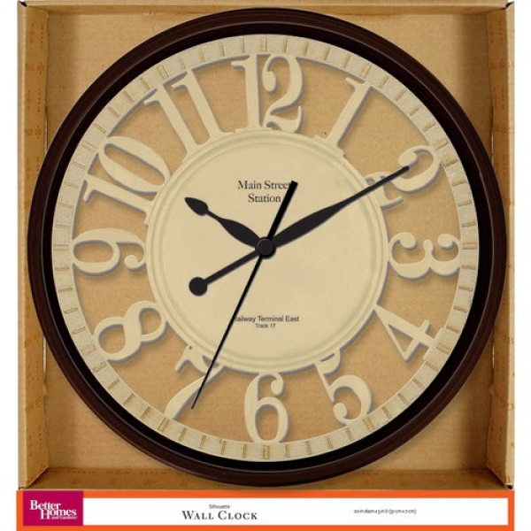 Better Homes and Gardens Silhouette Wall Clock 20 diameter