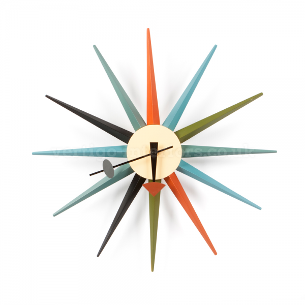 Colour Starburst Wall Clock - Inspired By Designs of George Nelson ...