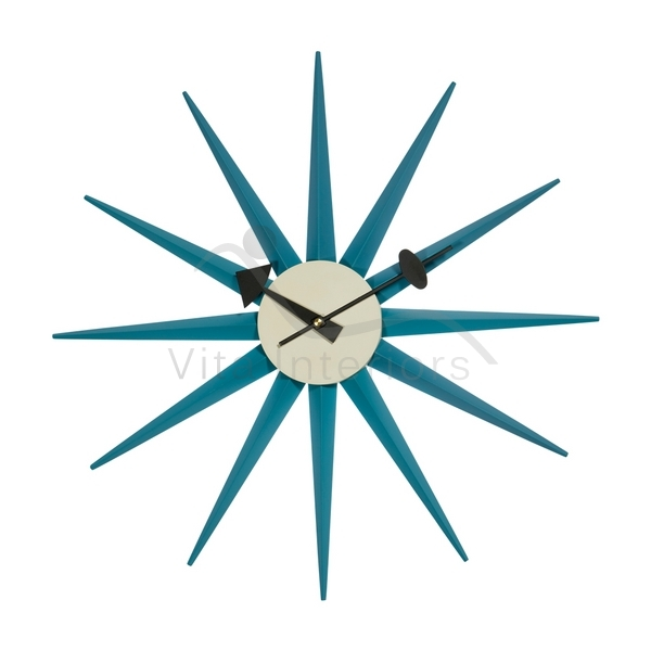 George Nelson Starburst Wall Clock - Blue