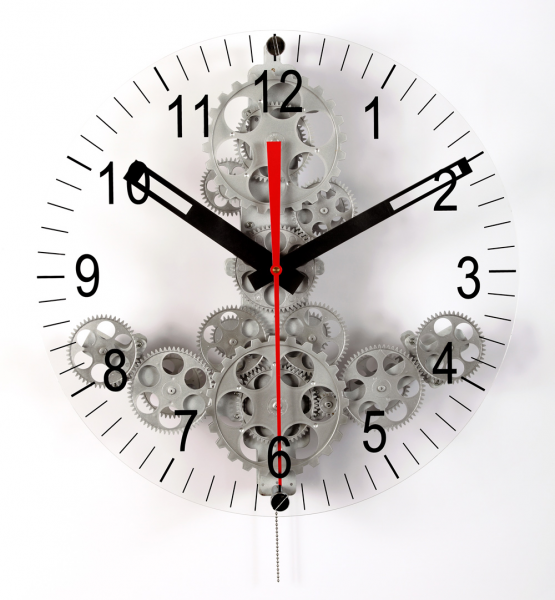 Large Moving Gear Wall Clock with front glass dial - Wall Clocks