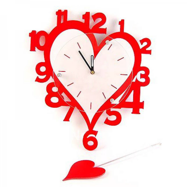 Buy Heart Shaped Wall Clock Online in India | ExcluzY.com