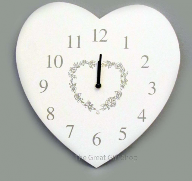 ... about Cream & Grey Floral Heart Shaped Wooden Wall Clock Shabby Chic