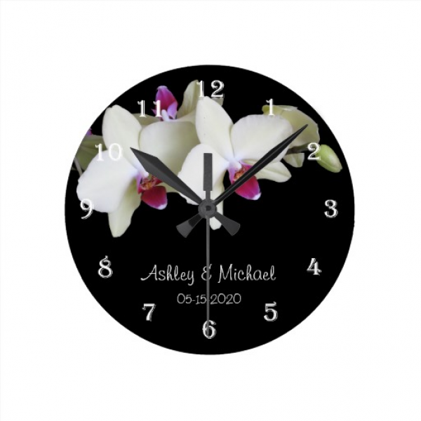 Wedding Wall Clock -- Personalized Orchid Flower | Zazzle