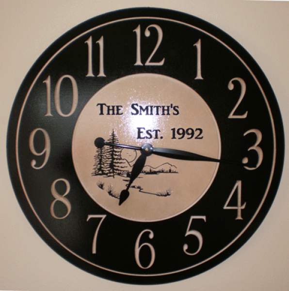 Unfinished personalized wood wall clock 24