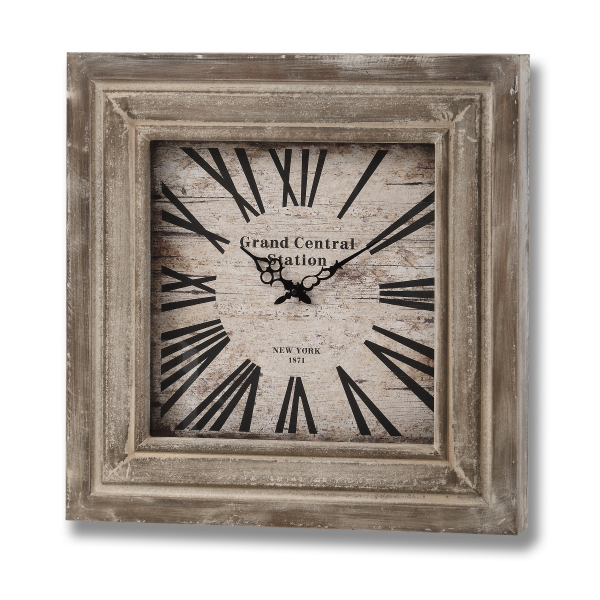 Grand Central Wall Clock With Square Wooden Frame from Baytree ...