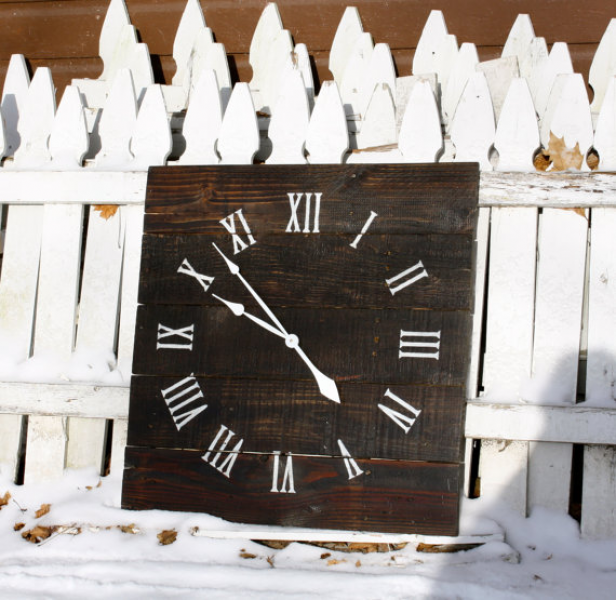 Large 26 by 26 Reclaimed Wood Wall Clock. Dark Walnut Stain ...