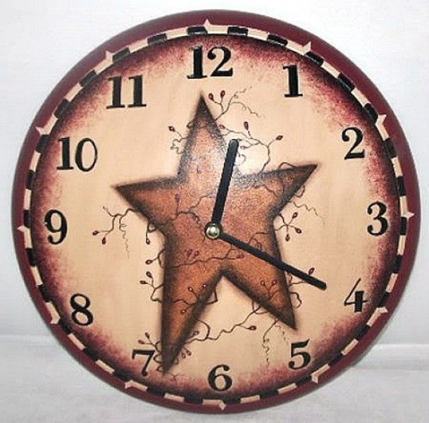 ... Primitive Country Rustic Lodge Cabin BERRY VINE STAR Wood Wall Clock