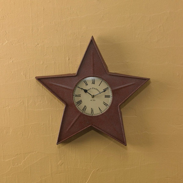 ... wall clock, metal wall clock, star shape wall clock, Primitive star