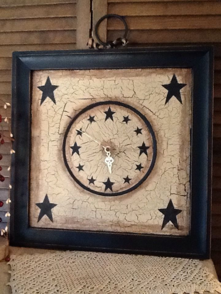 Primitive Decor~Wood Framed Wall Clock~Crackled~Stars~Large~~Unique ...