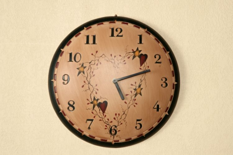 home primitive wall decor star heart rustic country hanging wall clock ...