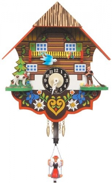 German Black Forest Clock - Girl on Swing - Wind-up