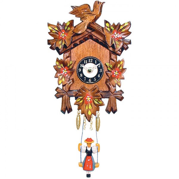 Black Forest Carved Clock with Swinging Girl and Red Flowers—Buy Now ...