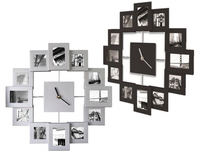 Modern Family Time Photo Frame Wall Clock Holds 12 Photos Black or ...