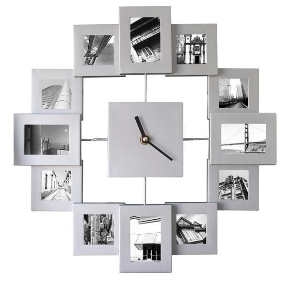 ... Modern 12 Multi Photo Picture Frame Time Wall Clock Family | eBay