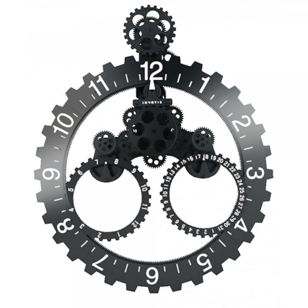 Invotis | Big Hour Date with Month Wheel Gear Large Wall Clock Black