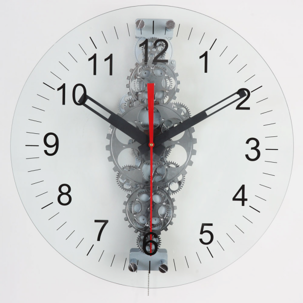 Large Moving-Gear Wall Clock with Glass Cover - Wall Clocks
