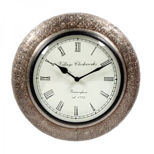... DECORATIVES Wall Clocks Antique Brass Embossed Round Shaped Wall Clock