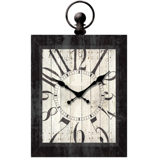 Better Homes and Gardens 23 Rectangle Pocket Watch Wall Clock, Black ...