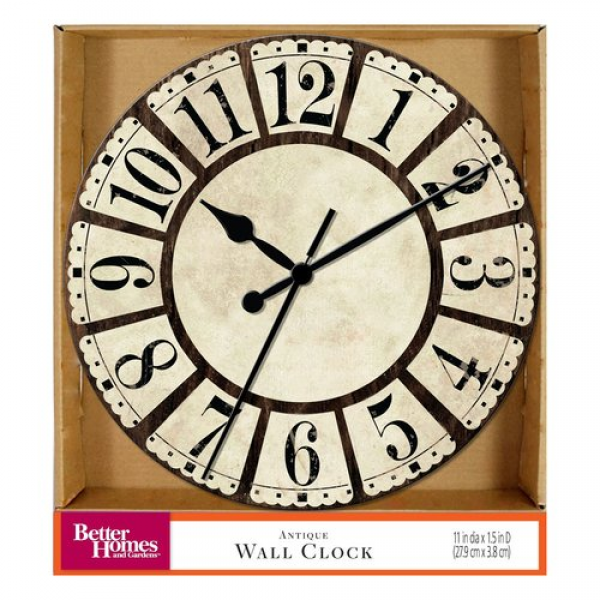 Better Homes and Gardens Round Antique Wall Clock - Walmart.com