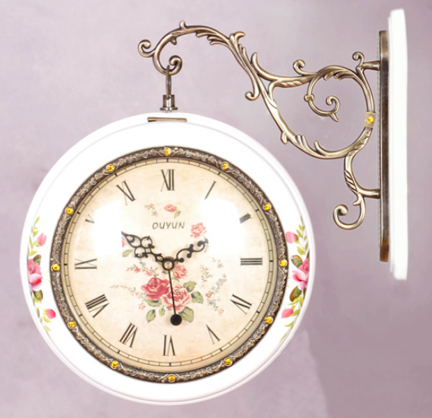 Alloy-Double-Dial-Wall-Clock-Wall-Mounted-Hanging-Garden-Wooden-Clock ...