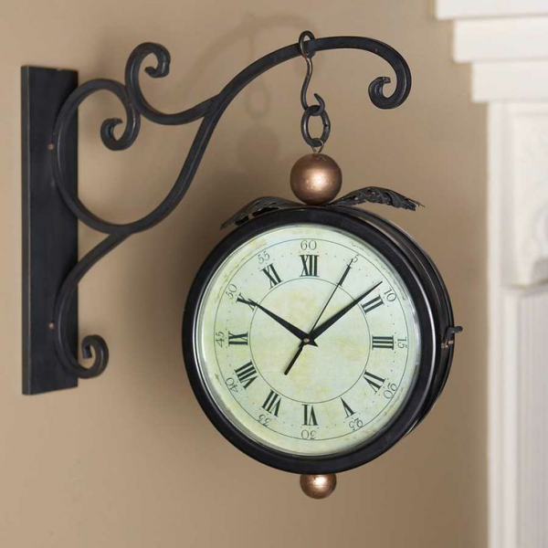 Sided Hanging Clock w/Wall Bracket. Solid iron decorative wall mount ...