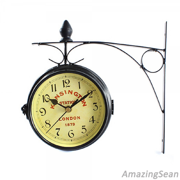 ... KINSINGTON Station Double Sided Wall Mounted Clock Antique Wall Clock