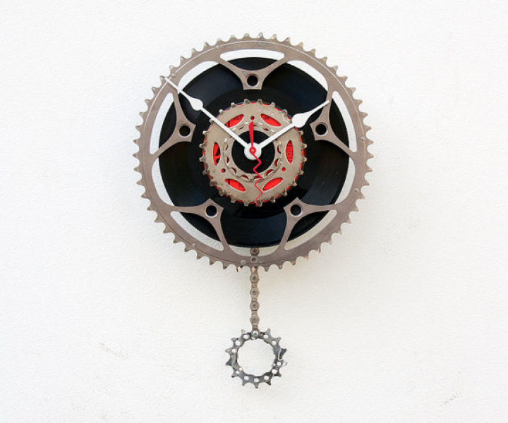 Recycled Bike Chain ring pendulum Clock by pixelthis on Etsy