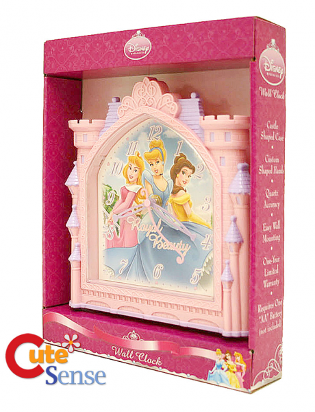 ... Princess Wall Clock 3D Pink Castle Watch Cinderella , Belle and Aurora