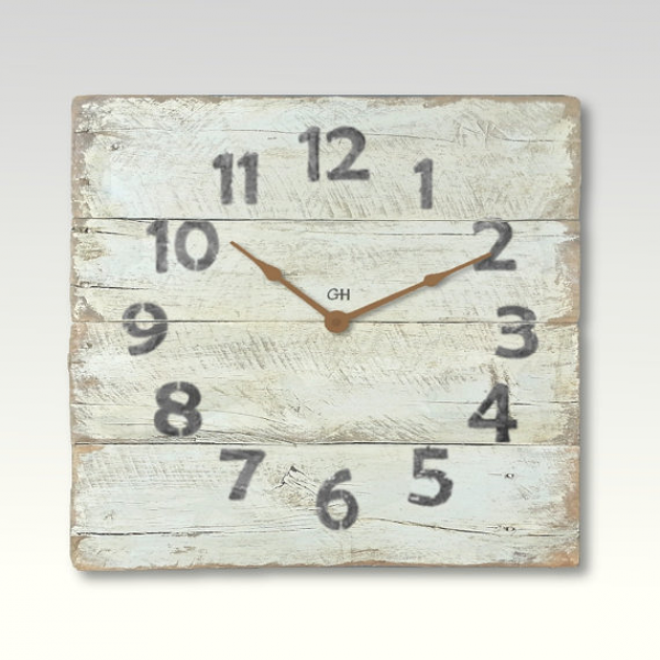 Rustic Wall Clock Shabby Chic Beach Decor in Creme White Coastal Theme ...