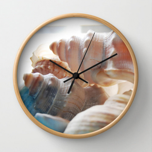 Sea shells photo clock, beach theme wall clock beach home decor beach ...