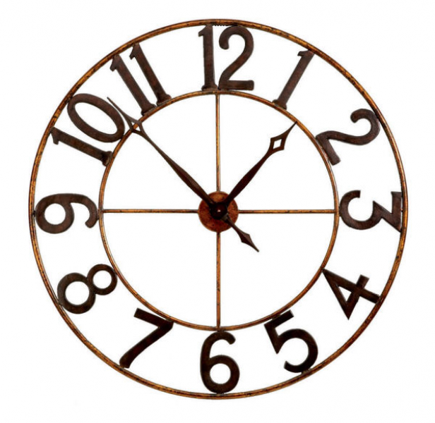 Antique Gold Large Numbers Open Wall Clock