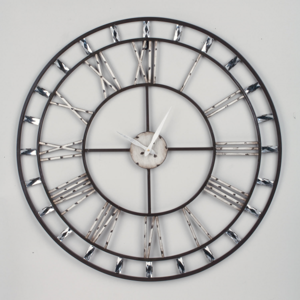 Roman Numeral Wall Clock with Clear Acrylic Beads (Wall Decor)