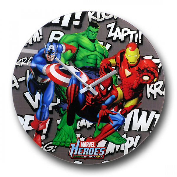 You can purchase the Marvel Heroes Background Noise Glass Clock at ...