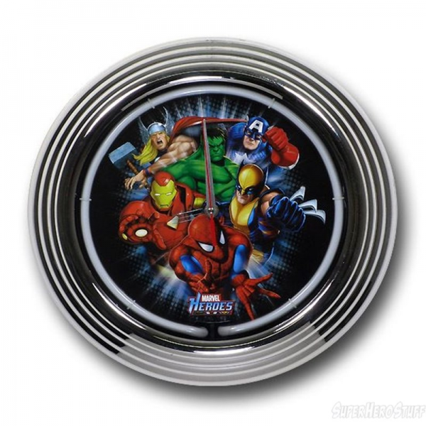 Marvel Heroes Neon Chrome Wall Clock- View With Light Off