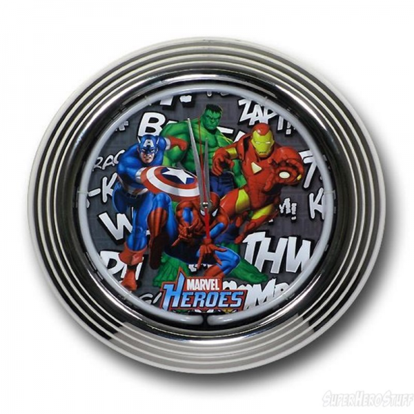 Marvel Heroes Zap Bang Neon Chrome Wall Clock- View With Light Off