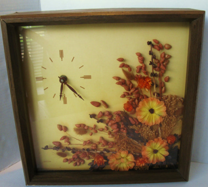 Vinage SUNBEAM Shadow Box WALL CLOCK, Battery Operated, Cordless, 60s ...