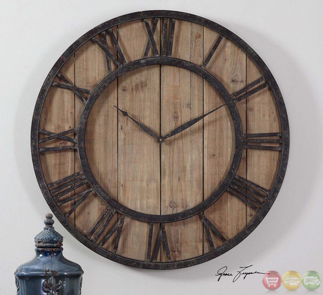 Powell Rustic - Lodge Aged Wood Panels Wall Clock 06344