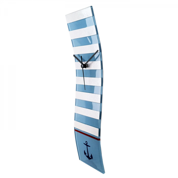 River City Clocks Striped Nautical Wave Glass Wall Clock | ATG Stores