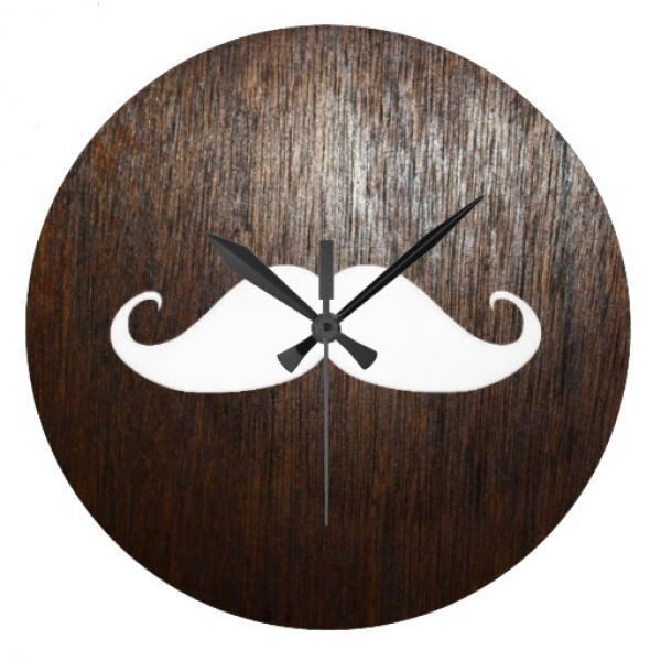 Funny White Mustache on oak wood background Round Wall Clocks | Zazzle