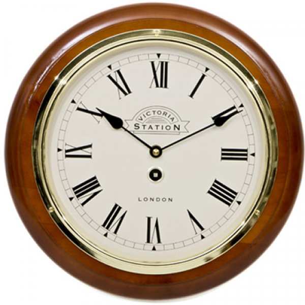 Victoria Station Roman Numeral Walnut Wall Clock 32cm