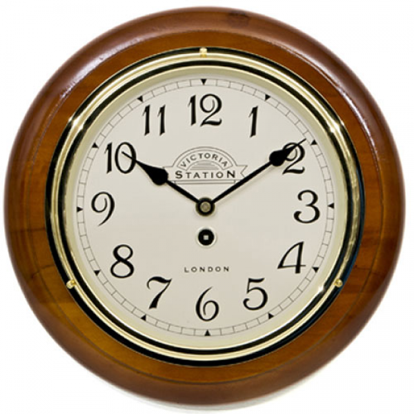 Victoria Station Arabic Numeral Walnut Wall Clock 32cm