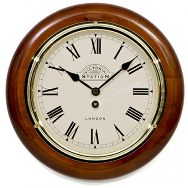 Victoria Station Roman Numeral Walnut Wall Clock 28cm