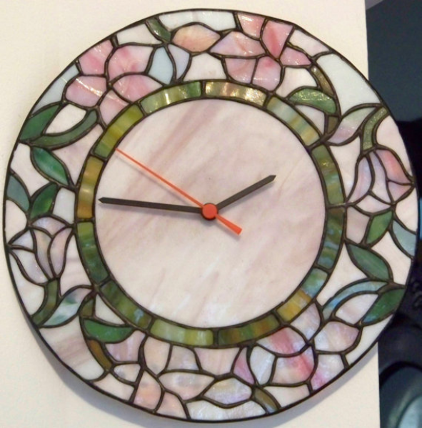 Vintage Wall Clock Tiffany Stained Glass Style by PaintedOnPlaques