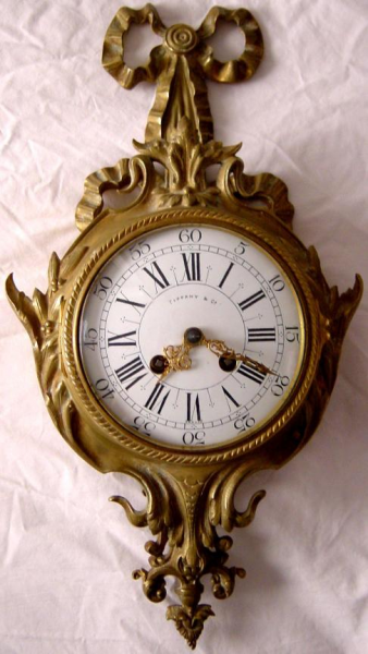 Antique Signed Tiffany Solid Bronze Cartel Wall Clock 6506122859