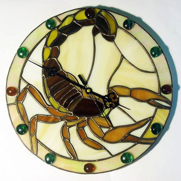 ?andmade Wall Clock Tiffany Style Scorpion.Stained glass clock ...