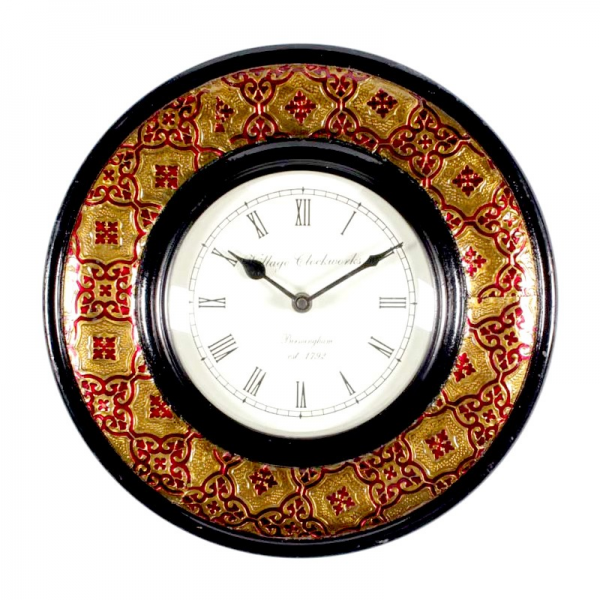 Rajasthani Wall Clock with Brass Finish and Meens Work