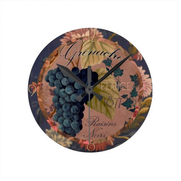 Vintage French Wine Label, Grenache Grapes Wall Clocks | Zazzle