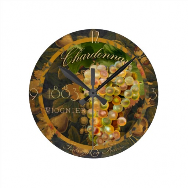 Chardonnay Vintage Wine Label Paris Wall Clocks | Zazzle